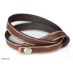 NOVICA Modern Leather Wrap Bracelet ($43) ❤ liked on Polyvore featuring jewelry, bracelets, accessories, leather, wristband, wrap bracelet, novica jewelry, leather wrap bracelet, wrap around bracelet and initial jewelry