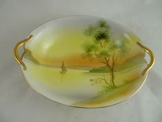 Nippon Porcelain Bowl or Vegetable Dish Lake Scene