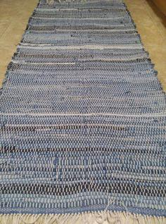 Long Denim by TwiceisNiceBooBooRug on Etsy, $75.50 Denim Rug, Cotton String, Blue Denim, Blue Jeans, Woven Rug, Loom, Hand Weaving, Knit Rug, Loom Knitting