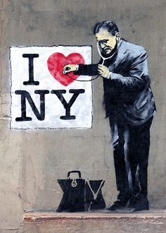 #Banksy Bombs in #NYC! ♥ Heart. The enigmatic street artist left his mark downtown near Wall Street — Cedar and Trinity to be exact.