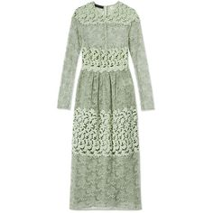 Burberry Prorsum Longsleeve Lace Dress ($3,956) ❤ liked on Polyvore featuring dresses, green, burberry dress, long-sleeve lace dress, long sleeve crochet dress, green lace dress and zip back dress