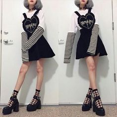 Updated look for my favorite pinafore. - - Updated look for my favorite pinafore. 🖤 Also, I found my heart choker last night but I'm still using my garter as a choker for thi. Edgy Outfits, Grunge Outfits, Pretty Outfits, Cool Outfits, Fashion Outfits, Pastel Goth Outfits, Kawaii Fashion, Lolita Fashion, Cute Fashion