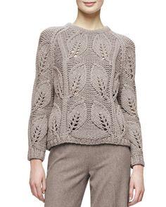 Lela Rose leaf knit sweater. Jewel neckline. Long raglan sleeves. Slim silhouette. Straight hem. Pullover style. Wool/silk. Dry clean. Imported.