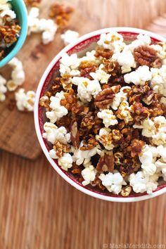 Maple Pumpkin Spice Popcorn | recipe on FamilyFreshCooking.com © MarlaMeridith.com