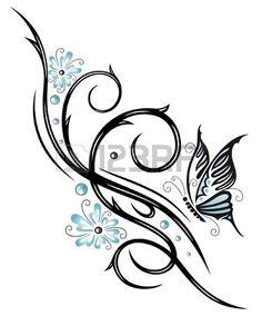 Flores de color azul, tribal con la mariposa Foto de archivo