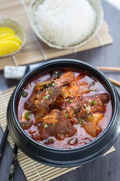Authentic Korean Pork Bone Soup (Gam ja tang) has the perfect balance of spicy & rich flavors. It's the best soup recipe to warm up with on a cold day! Korean Soup Recipes, Healthy Korean Recipes, Asian Recipes, Ethnic Recipes, Asian Foods, Korean Drinks Recipe, Korean Beef Soup, Korean Bbq, Korean Street