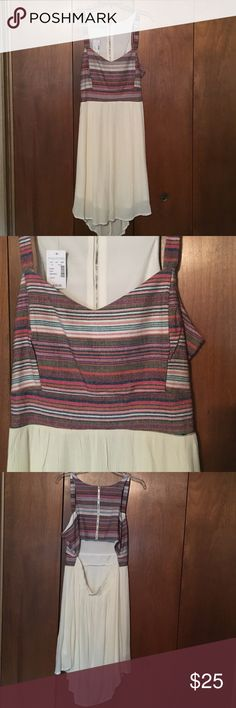 Maurice's Multi-Striped Dress Fun, flattering, multi-colored stripe dress with cut out in the back! NWT. Size 13/14. Bottom of dress is a soft ivory color. Maurices Dresses Midi