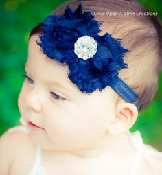 Royal Blue Shabby Chic Flower Rose Headband - Photo Prop - Gift - Newborn Baby Hairbow - Little Girl Hair Bow on Etsy, $4.99