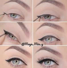 Super easy way to recreate that winged eyeliner! To make it easier.use the Mot… Super easy way to recreate that winged eyeliner! To make it easier.use the Motives Precision Eye liner…it's like a fine-point pen! Beauty Make Up, Beauty Care, Beauty Hacks, Hair Beauty, Beauty Skin, Beauty Ideas, Beauty Secrets, Beauty Guide, Make Up Organizer