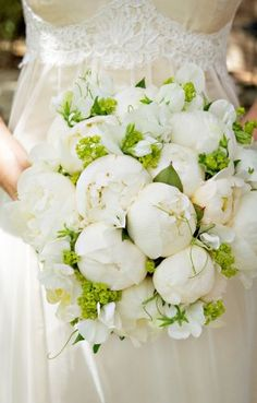 bridal bouquet with white peonies, sweetpeas, alchimella... maybe add a couple pale pink flowers? So pretty!!