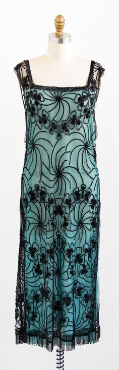 vintage 1920s black sequin tabard over mint chiffon lining   Great Gatsby flapper dresses   http://www.rococovintage.com