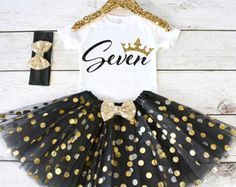 Seven Birthday Outfit. CUSTOM AGE. Girls Birthday Outfit. Tutu Set. Birthday Tutu Outfit. Birthday Outfit Girl. 7th birthday. S8 7BD (BLACK)