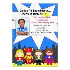 Superhero Birthday Invitations Superhero Birthday Party Photo Invitation