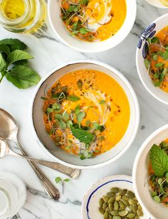 (Replace curry paste) Carrot Coconut Gazpacho with Lemongrass is DELICIOUS warm or cold and perfectly creamy without dairy! This healthy vegan soup takes under 15 minutes to make and keeps well! An all-time weeknight favorite! Carrot Coconut Soup, Coconut Soup Recipes, Vegetarian Recipes, Healthy Recipes, Easy Soup Recipes, Vegetarian Dinners, Lemongrass Recipes, Lemongrass Soup, Vegan Soup