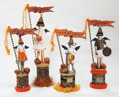 Halloween spools - like the idea but make the dolls on top less paper/no hats - maybe clay?