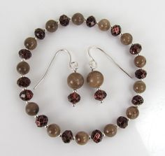 Petoskey stone and crystal stretchy bracelet and earring set with sterling silver #0433 by MemoriesOfMichigan on Etsy