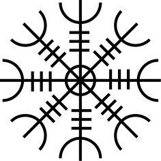 Símbolos mágicos de Islandia - Aegishjalmur: Protege al portador y provoca miedo en el rival. Utilizado por los vikingos en batalla, quienes se lo pintaban en la frente.