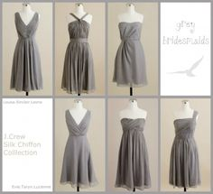 grey bridesmaid dresses from J. Crew  #wedding #bridesmaid