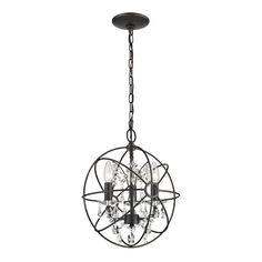 Sterling Restoration 3-light Globe With Crystal Pendant (Bronze, Clear), Black (Metal)