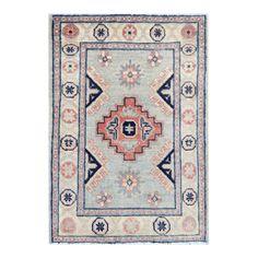 Herat Oriental Afghan Hand-knotted Tribal Vegetable Dye Kazak Gray/ Ivory Wool Rug x Pink Rug, Blue Rugs, Pink And Blue Rug, Entryway Rug, Afghan Rugs, Navy Rug, Tribal Rug, Hand Knotted Rugs, Carpet Runner