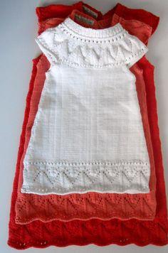 Pour Dana et Lauryparadit qui souhaitent le tricoter, voici les explications de la petite robe que je vous avais présentée ici Si mon blog est resté trop longtemps muet, je n'en suis pas pour autant restée inactive... Cadeaux de naissance ( la courbe...