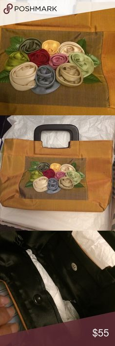 """Beautiful silk bag with roses and wooden handles. About 12x10"""" mustard brown / black /pastel flowers Bags"""