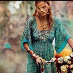 hippie teal dress - Google Search