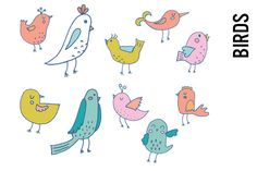 Pastel Bird Doodle Clipart by Pepper on @creativemarket
