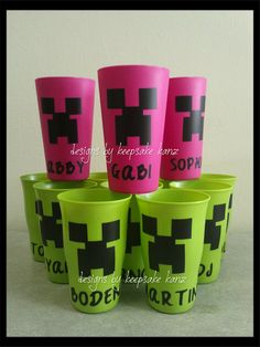 "Minecraft 'Creeper"" cups"