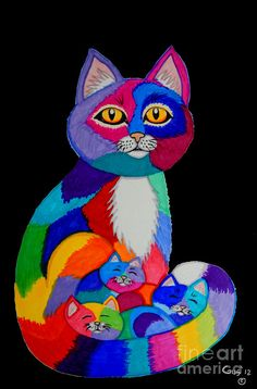 Colorful Cats And Kittens Drawing  - Colorful Cats And Kittens Fine Art Print