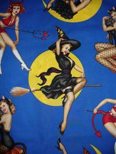 Bewitched Halloween Fabric  /Alexander Henry by trinketsintheattic, $11.00
