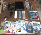 Nintendo Wii Console Black Game System Bundle lot 8 games 2 controllers Mic rock