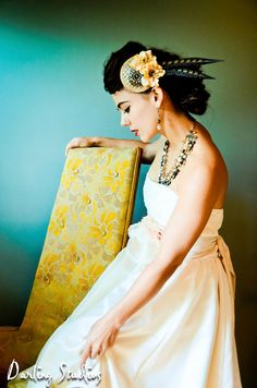 Bridal Fascinator Hat - Bronze, Cream-Beige Flowers and Feathers - ARC DE TRIOMPHE. $85.00, via Etsy.