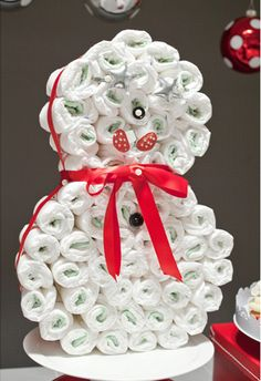 snowman diaper cake-had no idea what people were doing with diapers these days.  Just gave some away at a baby shower and did I drop the ball on that one!!
