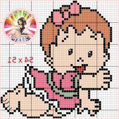Bebê linda Cat Cross Stitches, Cross Stitch Baby, Cross Stitch Charts, Cross Stitch Designs, Cross Stitching, Cross Stitch Embroidery, Cross Stitch Patterns, Square Patterns, Loom Patterns