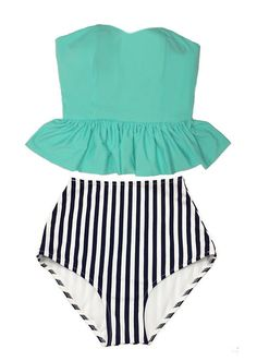 Mint Strapless Long Peplum Top and White/Black by venderstore
