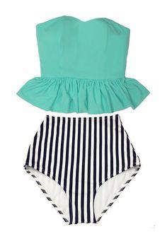 Mint Strapless Long Top and White Navy Blue Stripes Retro Vintage High Waist Waisted Bottom Swimsuit Swimsuits Swimwear Bikini Suit Wear M L