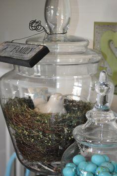 spring mantel....apothecary jar with bird/eggs