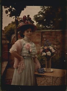 Some autochrome photos are dark..c.1910 . Early color photo from the turn of the century. This version of the photo has NOT been digitally enhanced.