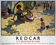 ENGLAND - Yorkshire - Redcar - London & North Eastern Railway poster by Dorothea Sharp. c1934