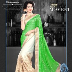 Outshine the occasion, wherever you go! Shop pretty green fabulous saree.  #saree #style #fashion