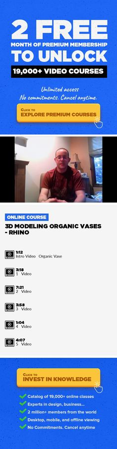 3D Modeling Organic Vases - Rhino Animation, Creative, 3D Printing, Digital Design, Rhino, Home, Organic Vase #onlinecourses #CoursesFaces #onlinedegreeformoms   In this class, I will be teaching you basic 3D Modeling skills using Rhino. For this class I will be showing you how to create organic forms in Rhino which you can then 3D Print and have a physical form of your creation! By the end of thi...