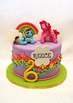 My Little Pony cake - Rainbow Dash and Twilight Sparkle would be perfect!  >>  Jae would Love this cake & it could still go with the rainbow theme + my little pony awesome!!
