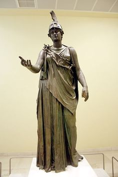 "The statue of the ""Piraeus Athena"" in the Archaeological Museum of Piraeus (Athens). The work has been given to either Kephisodotos or Euphranor (4th century B.C.), or deemed to be a Hellenistic-era creation in classicizing style. Picture by Giovanni Dall'Orto"