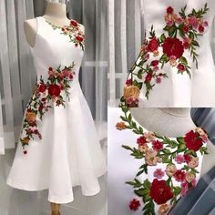 Embroidery flowered Prom Dress,A-line Homecoming Dress, Short Party Dress White Evening dress Embroidery Fashion, Embroidery Dress, Floral Embroidery, Silk Ribbon Embroidery, Hand Embroidery, Embroidery Designs, Ball Gowns Evening, Evening Dresses, Ball Dresses