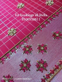 Latest Embroidery Designs, Border Embroidery Designs, Embroidery Suits Design, Embroidery Motifs, Cutwork Blouse Designs, Simple Blouse Designs, Bridal Blouse Designs, Blouse Neck Designs, Hand Work Design