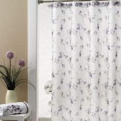 Croscill Pergola Shower Curtain - Delicate purple flowers adorn a white backdrop in this classically beautiful bathroom ensemble. #bathroom #decor #showercurtain