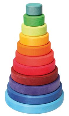 Grimm's Large Wooden Conical Stacking Tower, Rainbow Colored Stacker, Made in Germany Grimm's Toys, Baby Toys, Kids Toys, Toys For Little Kids, Stacking Toys, Natural Toys, Natural Baby, Baby Kind, Newborn Gifts