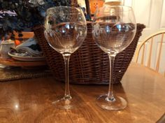 Pair of finely etched wine goblets by WhiskeysWhims on Etsy
