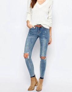 Super seje Vila Busted Knee Skinny Jeans - Blue Vila Skinny Jeans til Damer til hverdag og fest